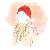 Konturkvinna med hårturbanen Stock Illustrationer