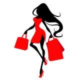 Konturkvinna med shoppingpåsen, vektorbanermall för kvinnlig shopping royaltyfria bilder