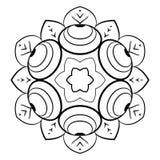 Konturmandala för färgböcker monokromen avbildar Ett upprepande p Royaltyfria Foton