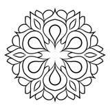 Konturmandala för färgbok Monokrom illustration Symmetr Royaltyfri Foto