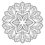Konturmandala för färgbok Monokrom illustration Symmetr Arkivbild