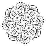 Konturmandala för färgbok monokromen avbildar Symmetriskt PA Royaltyfria Foton