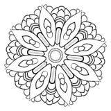 Konturmandala för färgbok monokromen avbildar Symmetriskt PA Fotografering för Bildbyråer