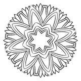 Konturmandala för färgbok monokromen avbildar Symmetriskt PA Royaltyfria Bilder