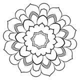Konturmandala för färgbok monokromen avbildar Symmetriskt PA Royaltyfri Fotografi