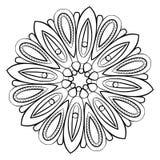 Konturmandala för färgbok monokromen avbildar Symmetriskt PA Arkivfoto