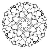 Konturmandala för färgbok monokromen avbildar Symmetriskt PA Royaltyfri Bild