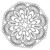 Konturmandala för färgbok monokromen avbildar Symmetriskt PA Arkivfoton