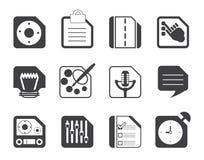 Konturmobiltelefon, dator och internetsymboler Royaltyfria Foton