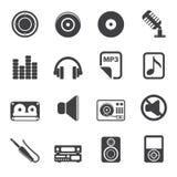 Konturmusik- och ljudsymboler Arkivfoto
