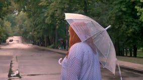 Konturn av den feta ljust rödbrun flickan går ner vägen parkerar in under regn och att vända, att le som rymmer paraplyet, baksid stock video
