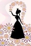 Konturn av en dam med den kungliga kronan som kastar blommar över hennes huvud Arkivfoto