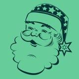 Konturn av en godmodiga Santa Claus stock illustrationer