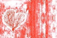Konturn av en hjärta med träden inom, på scharlakansrött, Bourgognevattenfärg Arkivfoto