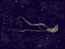 Konturn av en hund målade vid stjärnor på natthimmel också vektor för coreldrawillustration Arkivbilder