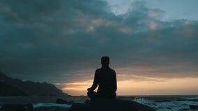Konturn av en kvinna som sitter p?, vaggar p? solnedg?ngen observera havv?gor p? den Benijo stranden i Tenerife, kanarief?gel?ar stock video