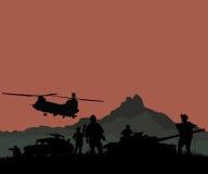 Konturn av militären tjäna som soldat laget eller tjänstemannen med vapen och Royaltyfria Bilder