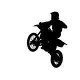 Konturn av motocrossryttaren hoppar isolerat på vit Fotografering för Bildbyråer