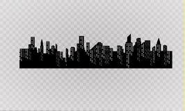 Konturn av staden i en plan stil modernt stads- för liggande också vektor för coreldrawillustration Royaltyfri Foto