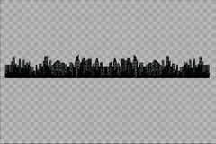 Konturn av staden i en plan stil modernt stads- för liggande också vektor för coreldrawillustration Royaltyfri Bild