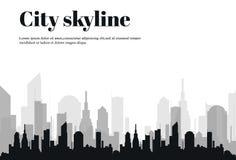 Konturn av staden i en plan stil modernt stads- för liggande också vektor för coreldrawillustration Royaltyfri Fotografi