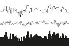 Konturn av staden i en plan stil modernt stads- för liggande också vektor för coreldrawillustration Fotografering för Bildbyråer