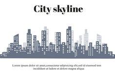 Konturn av staden i en plan stil modernt stads- för liggande också vektor för coreldrawillustration Arkivbild