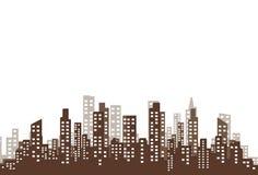 Konturn av staden i en plan stil modernt stads- för liggande också vektor för coreldrawillustration Arkivfoton