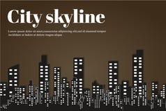 Konturn av staden i en plan stil modernt stads- för liggande också vektor för coreldrawillustration Royaltyfria Bilder