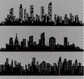 Konturn av staden i en plan stil modernt stads- för liggande också vektor för coreldrawillustration Arkivbilder