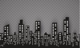Konturn av staden i en plan stil modernt stads- för liggande också vektor för coreldrawillustration Arkivfoto