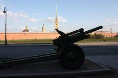 konturn av vapnet på bakgrunden av fästningen royaltyfri bild