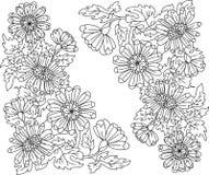 konturn blommar färgläggning arkivbild