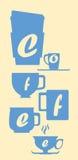 Konturn för kaffekoppen med bokstäver slösar på den vita vertikala illustrationen Royaltyfria Foton