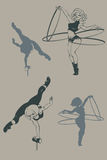 Konturn för utvikningsbrudcirkuskonstnären, inkpen Royaltyfri Bild