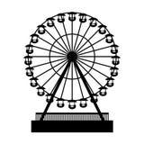 Konturn parkerar Atraktsion Ferris Wheel vektor vektor illustrationer
