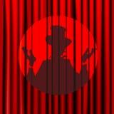 Konturn skugga, trollkarlen, skådespelare, stängde gardinen på en bakgrund av rött, teatern, cirkusen, affischer, arenan som isol royaltyfri illustrationer
