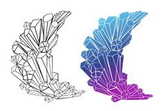 Konturn- und Farbhalbmond von Kristallen Stockfotos