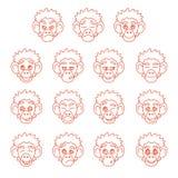 Konturnaffe-Gesichtsausdrücke Lizenzfreie Stockfotos