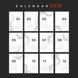 Konturnentwurfs-Kalendermodell stockfoto