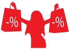 Konturnmädchen mit dem Einkaufen rabatte Lizenzfreie Stockfotos