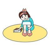 Konturnmädchen mit einem Buch Stockbilder