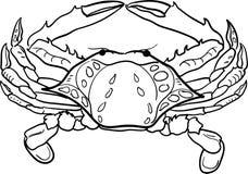 Konturnschwarzweiss-Krabben-Vektorillustration Lizenzfreie Stockfotografie