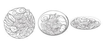 Konturowa czarny i biały kreskówki ilustracja ramen w różnych kątach kluski ilustracja wektor
