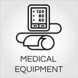 Konturowa ikona medyczny automatyczny tonometer dla ciśnienia krwi mierzyć ilustracja wektor
