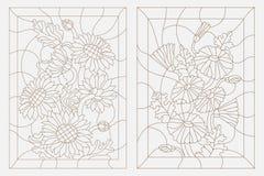 Konturowa ilustracja kwiecisty witraż, słoneczniki i stokrotki, Zdjęcia Royalty Free