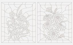 Konturowa ilustracja witraż, bukiet stokrotki i irysy w prostokątnej ramie, Fotografia Royalty Free
