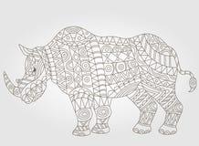 Konturowa ilustracja z abstrakcjonistyczną nosorożec Obrazy Royalty Free