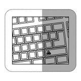 konturowa komputerowa klawiatura z przekładnia symbolu ikoną Fotografia Royalty Free