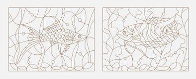 Konturowa witraż ilustracja akwarium ryba wśród gałęzatki i bąbli Obrazy Stock